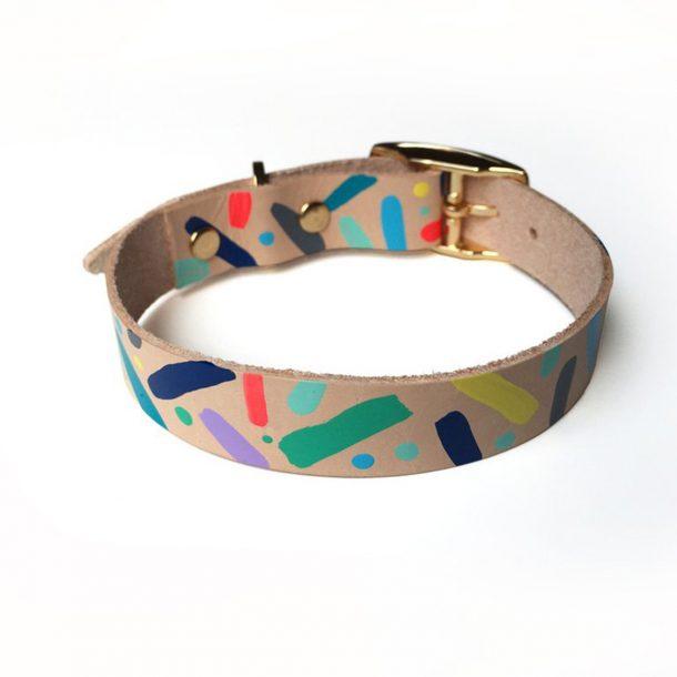 Confetti Leather Dog Collar