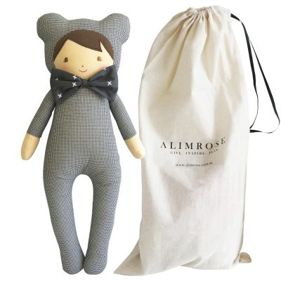 ALIMROSE Baby in Bear Suit Doll with bag
