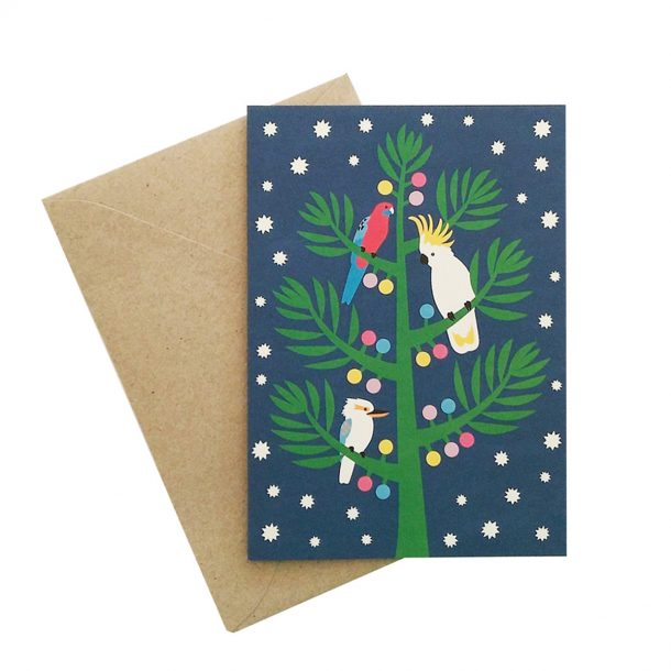 Christmas Night Birds Card