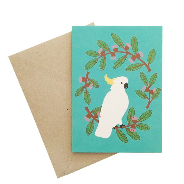 Cockatoo Wreath Card