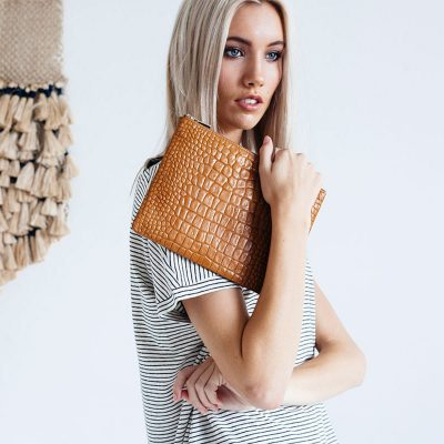 Status Anxiety Tan Croc Antiheroine Clutch