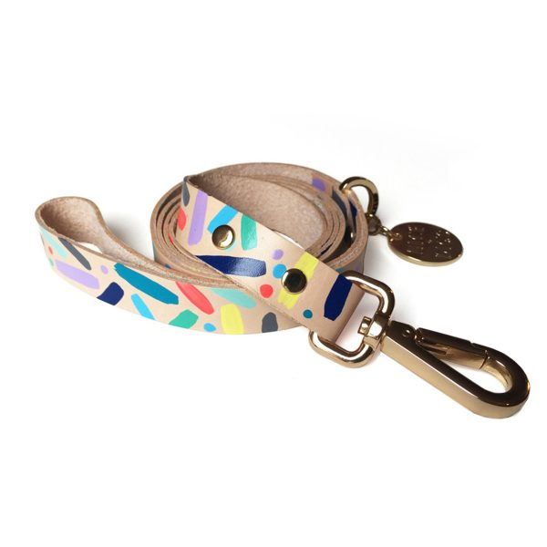 Confetti Leather Dog Leash