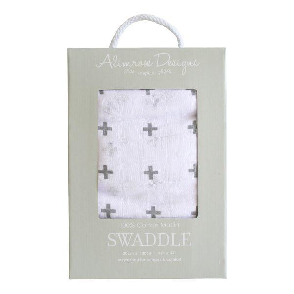 Grey Crosses Muslin Swaddle