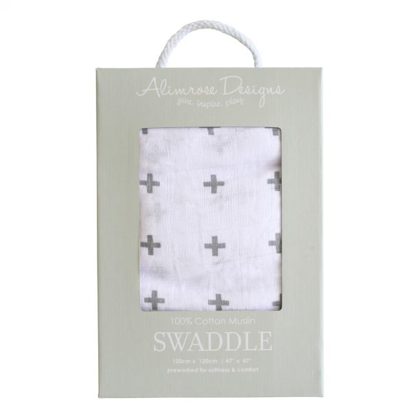 Grey Crosses Muslin Swaddle