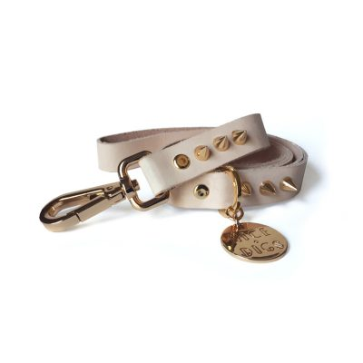 Gold Spike Leather Dog Leash