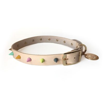 Pastel Spike Leather Dog Collar