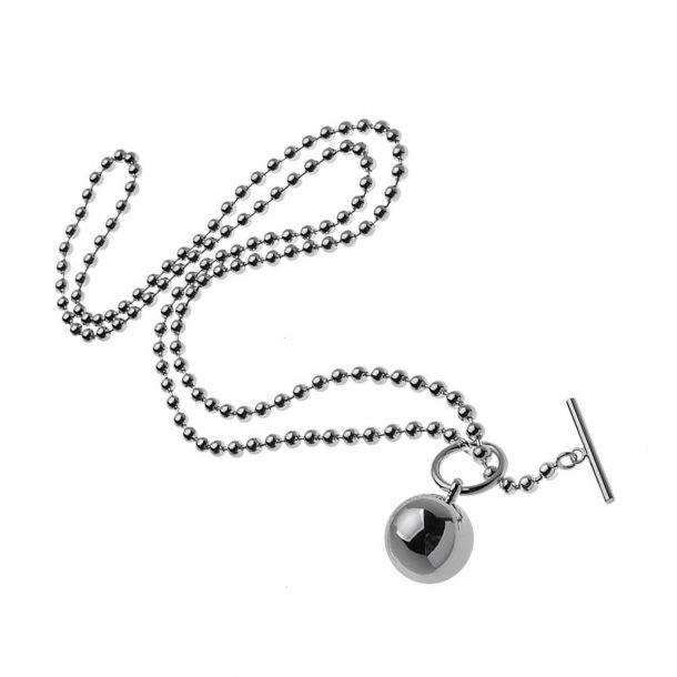 Silver long chain ball Necklace