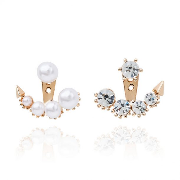 Spike Pearl and Cubic Zirconia Ear Jacket combo
