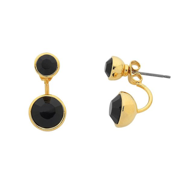 Gold and Black stud Earrings