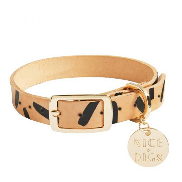 NICEDIGS Tiggy Black Leather Dog Collar