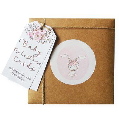 FOREVER3 // Pink Boho Bunny Milestone Cards
