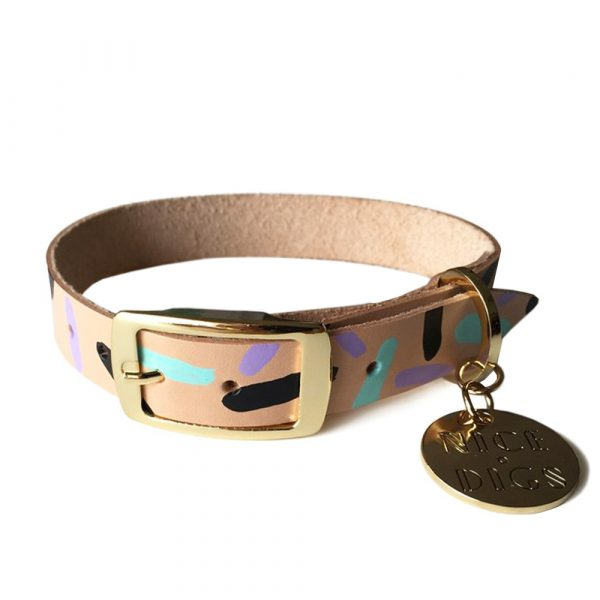 NICEDIGS Tiggy Aqua Violet Leather Dog Collar