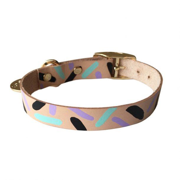 NICEDIGS Tiggy Aqua Violet Leather Dog Collar