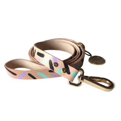 NICEDIGS // Tiggy Aqua Violet Leather Dog Leash
