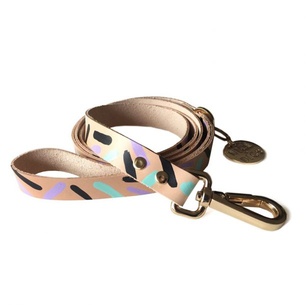 NICEDIGS Tiggy Aqua Violet Leather Dog Leash