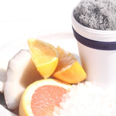 Muscle Revive Sea Scrub with orange pieces and coconut