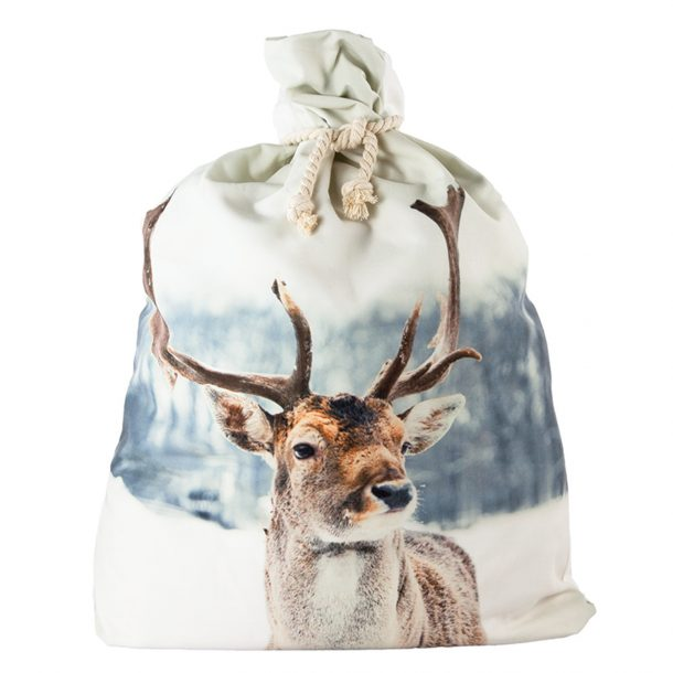 Large Snow Reindeer Santa Sack