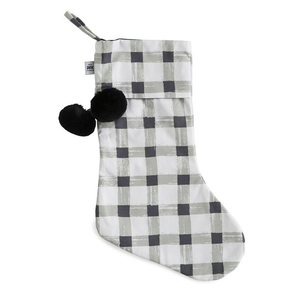 Grey Gingham Christmas Stocking