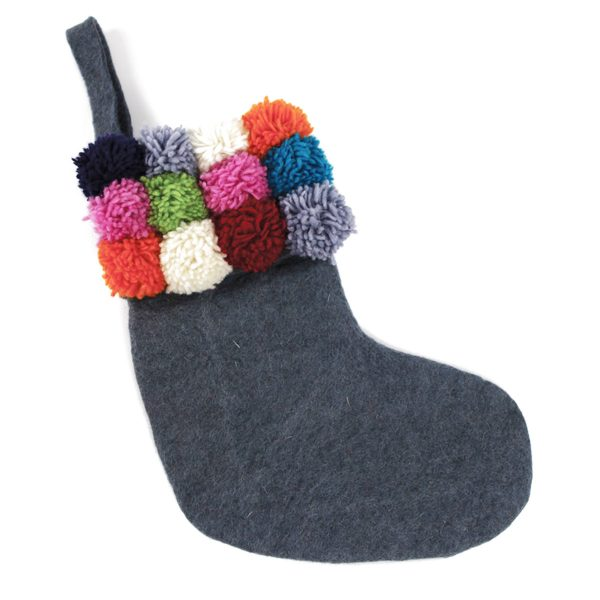 Grey Pom Pom Christmas Stocking