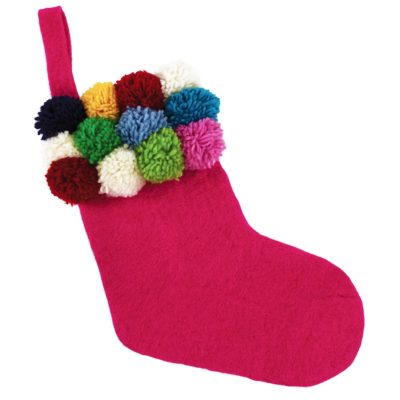 Pink Pom Pom Christmas Stocking