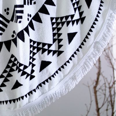 Acapulco Black & White Round Beach Towel