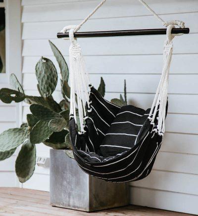 COLLECTIVE SOL Black and White Stripe Noosa Hammock Swing
