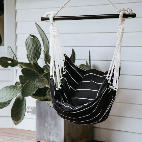 COLLECTIVE SOL Black and White Stripe Noosa Hammock Swing