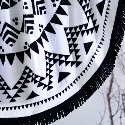 Havana Black & White Round Beach Towel