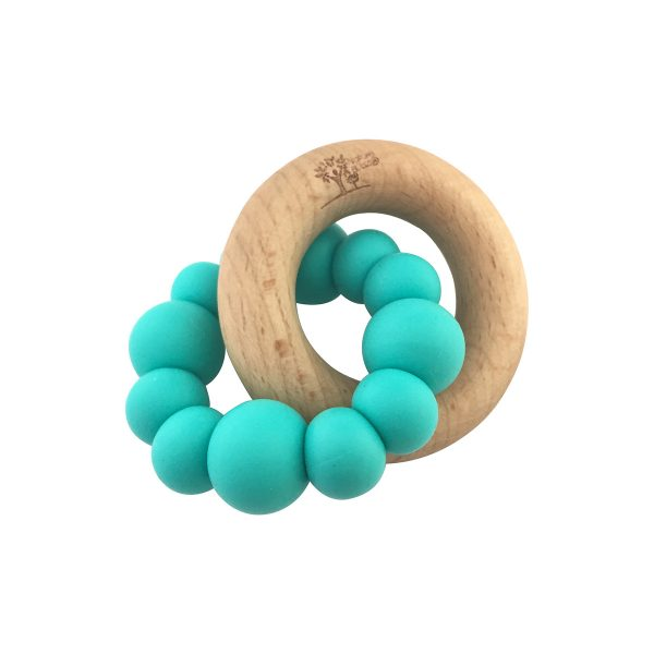 BLOK Teether Turquoise rubber and wood