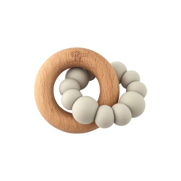 BLOK Teether light grey with rubber and wood