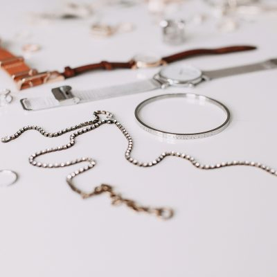 jewellery on a white bench