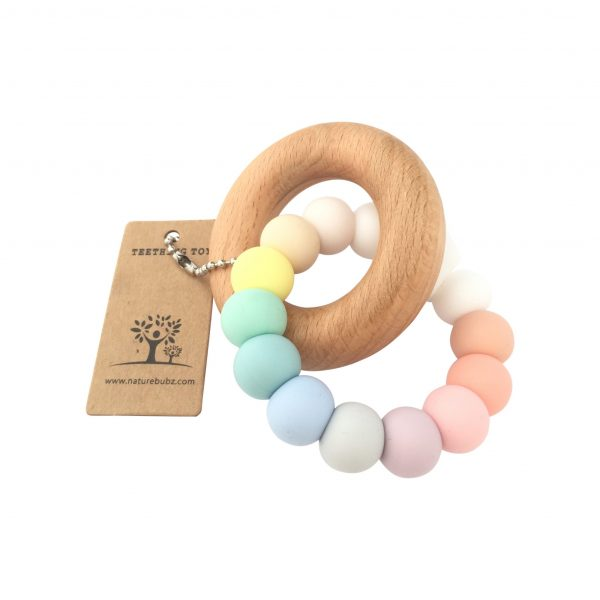 Pastel Rainbow Beech Teether product shot