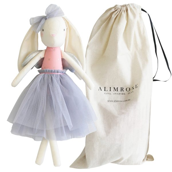ALIMROSE Silver Angel Bunny with bag