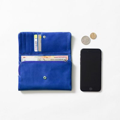 STATUS ANXIETY Royal Blue Audrey Wallet opened with contents