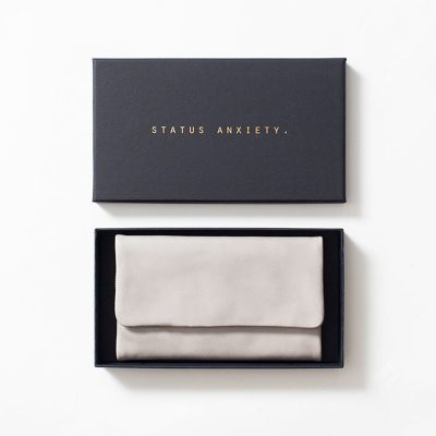 STATUS ANXIETY Light Grey Audrey Wallet in status anxiety box