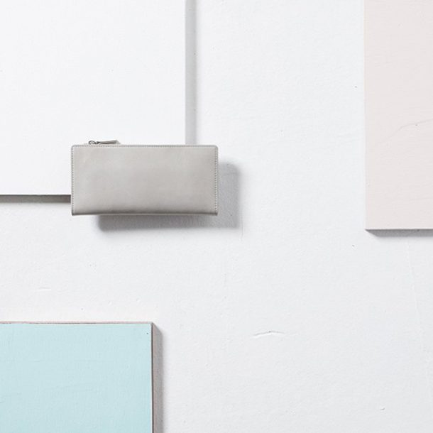 Status Anxiety Light Grey Dakota Wallet styled shot