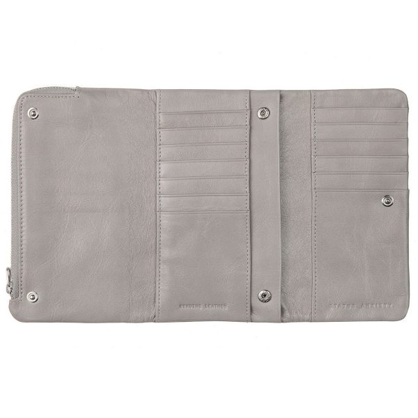 STATUS ANXIETY Light Grey Audrey Wallet opened inside pockets
