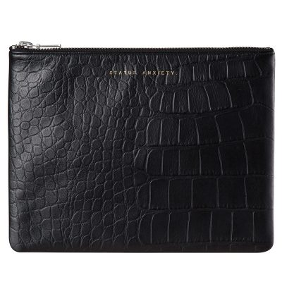 STATUS ANXIETY Black Croc Antiheroine Clutch front