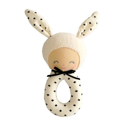 Alimrose Charlie Grab Rattle black and cream charlie grab rattle with black crosses