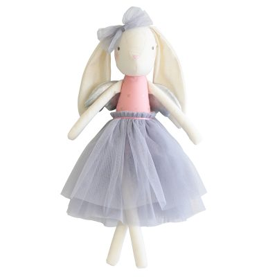 Alimrose Silver Angel Bunny with pastel purple skirt and bow with silver wings