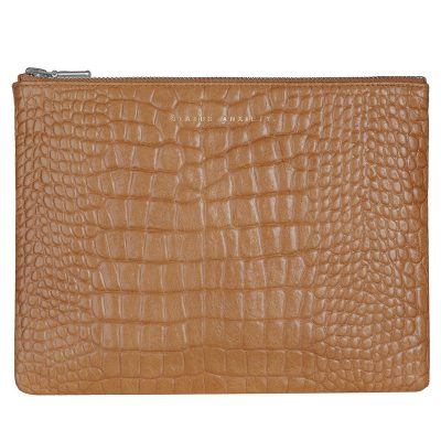 STATUS ANXIETY Tan Croc Antiheroine Clutch front
