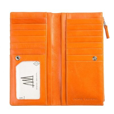 Burnt Orange Dakota Wallet inside pockets