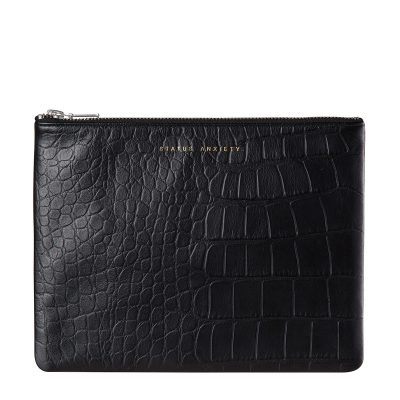 status anxiety Black Croc patterned Antiheroine leather purse