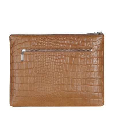 status anxiety Tan Croc patterned Antiheroine leather purse back