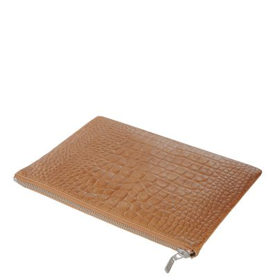 status anxiety Tan Croc patterned Antiheroine leather purse top view
