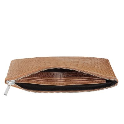 status anxiety Tan Croc patterned Antiheroine leather purse