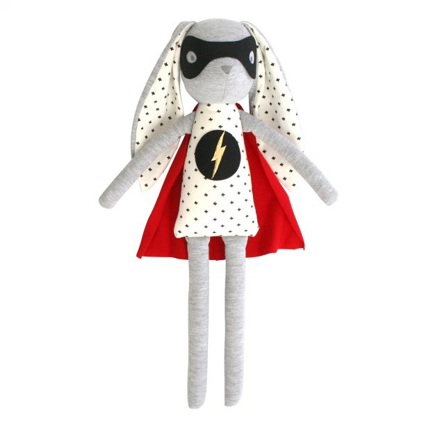 alimrose super hero bunny doll with red cape and super hero symbol on outfit