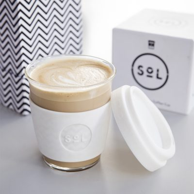 White Wave SoL Cup full of barista coffee
