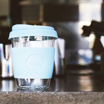 cool cyan SoL Cup at cafe