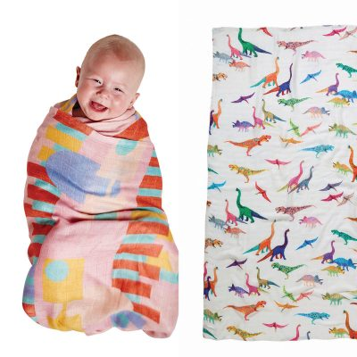 Dino Max + Shapely Bamboo Swaddle Set